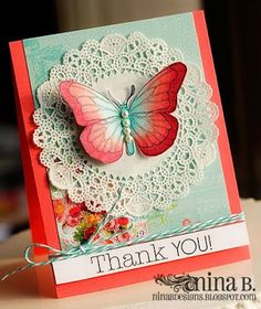Nina Brackett& work never ceases to amaze us! Her card making talent comes shining through with this beautiful trio of thank you cards. Pretty Cards, Cute Cards, Diy Cards, Tarjetas Diy, Butterfly Cards, Butterfly Colors, Card Making Inspiration, Card Tags, Paper Cards