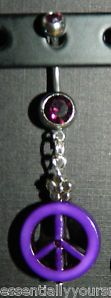 Purple Rhinestone & Peace Sign Belly Navel Ring NEW Silver Flower Bead