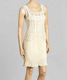 Another great find on #zulily! Caramel Crochet Overlay Linen-Blend Dress by Pretty Angel #zulilyfinds