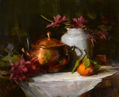 Clementine and Copper by artist Rita Curtis. #stilllifeart found on the FASO Daily Art Show - http://dailyartshow.faso.com