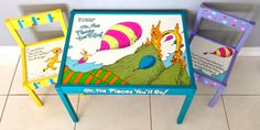 Dr. Seuss Play Table and 2 Chairs (Oh the Places Youll Go). $200.00, via Etsy.