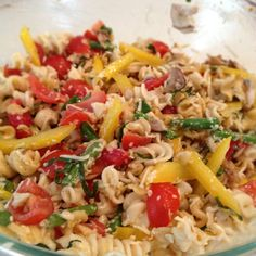 """Lemon Basil Pasta Salad: Fresh basil, lemon zest, lemon juice, EVOO, minced garlic, grape tomatoes, yellow pepper, mushrooms, garlic scapes & green onions tossed with gluten free sundries tomato basil pasta and freshly grated """"Tomato Basil Garlic Cheddar"""" cheese from Ropp Jersey Cheese... Served cold it was refreshing & flavorful but be careful that it doesn't get too lemony!"""