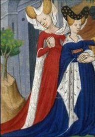 Women with houppelande and heart-shaped hennin, ca. 1375.