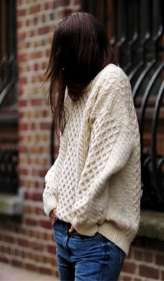 Love This Chunky Wool Sweater, 2014 Ivory Chunky Sweater, Knitted Jumpers In Handmade