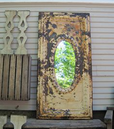 Old Ceiling Tin Tile Mirror. Rustic mirror. by DriveInService