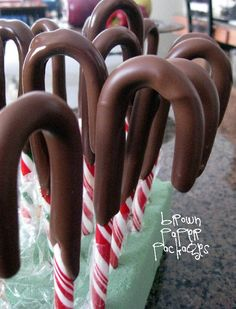 {chocolate dipped candy canes}