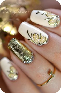 Antique Gold Foil Gel: tartofraises nail art