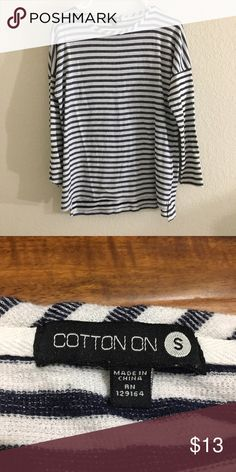 Navy Stripes Long Sleeve Top 🌹65% polyester 35% cottons 🌹NEW without tag  🌹High Low slits. 📦 BUNDLE! & save ⚡️Fast Shipper!! Cotton On Tops Tees - Long Sleeve