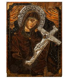 """""""Mother of God"""" [Icon]. A Byzantine artistic impression of the Blessed Virgin Mary holding in her arms Christ crucified upon His cross, portraying her maternal suffering. Holly Pictures, Hail Holy Queen, Holding Baby, Faith In Love, Blessed Virgin Mary, Baby Jesus, Mother Mary, Christian Art, Byzantine"""