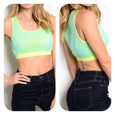 Sporty Crop Top  Sporty Crop top with contrasting underlay and mesh overlay. Has gathered elastic band. A48 Tops Crop Tops