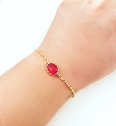 Red Bracelet Gold Ruby Red Stone Bracelet Modern by Jewelsalem