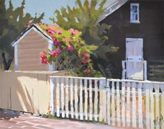 """""""Sunlit Roses"""" Latest oil painting of sunlit roses cascading over a roof and down to the ground."""