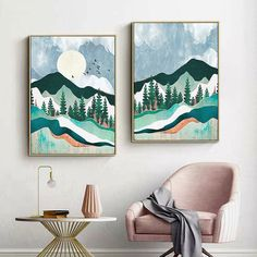 Mountain Forest Sunset Abstract Painting Nordic Landscape Canvas Poster Print - Ideas of Mountain Canvas Simple Canvas Paintings, Diy Canvas Art, Acrylic Painting Canvas, Landscape Paintings Simple, Simple Landscape Drawing, Mountain Landscape Drawing, Abstract Painting Easy, Modern Canvas Art, Canvas Painting Landscape