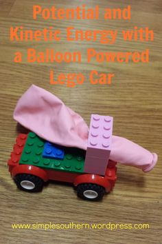 Easy STEM experiment to study potential and kinetic energy. All you need is a Le. - Science - Easy STEM experiment to study potential and kinetic energy. All you need is a Lego car and a balloo - Stem Projects, Lego Projects, Science Projects, Projects For Kids, Fair Projects, Kid Science, Science Fair, Preschool Science, Science Today