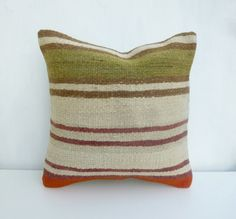 Cream and Olive Kilim Pillow cover made with a by SophiesBazaar, $48.00