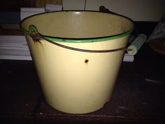 Old enamel bucket from Emmaus; September 2014. $2