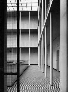 Interior of the Free Harbour Office (1952-53) in Hamburg, Germany, by Werner Kallmorgen