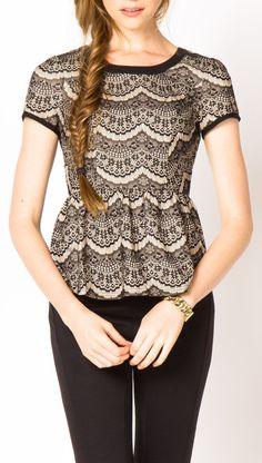 #Lace Peplum Top  women blouse #2dayslook #blouse fashion  www.2dayslook.com