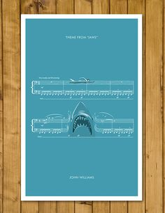 Main Theme from Jaws by John Williams - Movie Classics Poster - Soundtrack Print - Sheet Music Art - Shark Gift (Various Sizes) by headfuzzbygrimboid on Etsy Print Sheet Music, Sheet Music Art, Shark In The Ocean, Jaws Movie, Shark Gifts, What Is Digital, Movie Themes, Main Theme, Classic Monsters