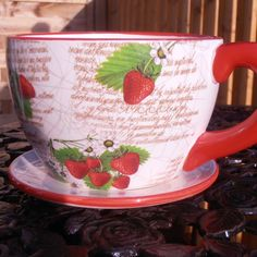 Ceramic Strawberry Teacup Plant Pot