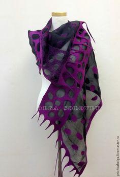 Purple felt and silk scarf
