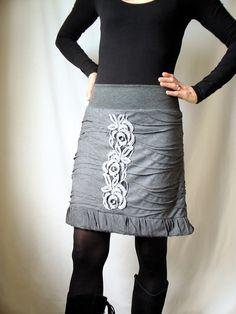 Gray Skirt by HanseART on Etsy, $93.00