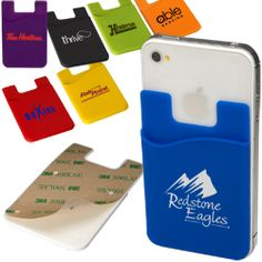 Silicone pocket with adhesive backing     3M™ adhesive sticks to the back of your mobile phone     Pocket doubles as a wallet. Holds credit cards, driver's license, hotel room keys, stylus, coins or other small personal items