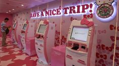 Hello Kitty kiosks at Taoyuan International Airport