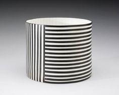 Artist: Bodil Manz, Title: Black Stripes Cylinder # 4 - click on image to enlarge
