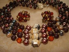 Vintage Multi strand Glass and Pearl Bead Necklace by joyceshafer, $34.95
