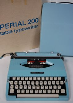 Mint, new in box 1970s Pale blue Imperial Typewriter - so gorgeous