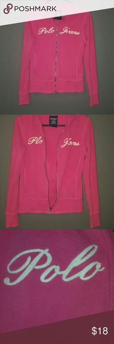Pink Ralph Lauren Polo Jeans Hoodie Ralph Lauren zip up hooded sweatshirt, size small. The hoodie is dark pink and it is in excellent used condition.  Fast shipping! Please check out the rest of my listings as I always have some really great clothes for sale! Thanks! Ralph Lauren Tops Sweatshirts & Hoodies