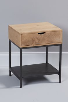 Bedside table with drawer - Modern side table in industrial design. With a large drawer and additional storage space, the bedsi - Diy Furniture Table, Recycled Furniture, Furniture Design, Industrial Interiors, Industrial Design, My Home Design, Modern Side Table, Large Drawers, Storage Spaces