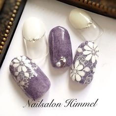Grey and white Lace Nails, Bling Nails, Flower Nails, Sculpted Gel Nails, Purple Nail Art, Crazy Nail Art, Japanese Nail Art, Fabulous Nails, Nails Inspiration