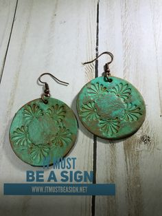 Round hand stamped leather earrings-distressed-antiqued-Tiffany blue