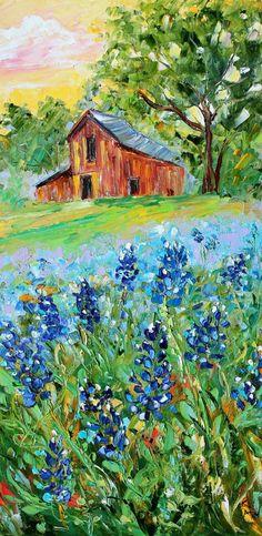 Original oil painting Texas Bluebonnet Landscape by Karensfineart Landscape Art, Landscape Paintings, Oil Paintings, Old Barns, Acrylic Art, Art And Architecture, Art Oil, Painting Inspiration, Les Oeuvres