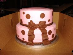 Pink and Brown baby shower cake
