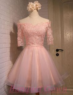 Pink Homecoming Dress,Half Sleeve Homecoming Dress,Lace Homecoming Dress,Dream…
