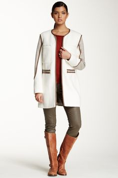 French Connection Boucle Melton Wool Blend Collarless Coat by French Connection on @nordstrom_rack