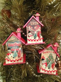 Christmas Putz House Ornaments with Snowman and Bottlebrush Trees ~  Set of 3  ~  Vintage Inspired