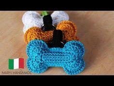 MaryJ Handmade: Osso all& Quick Crochet, Free Crochet, Crochet Gifts, Crochet Toys, Crochet Dog Sweater, Bone Crafts, Dog Christmas Ornaments, Applique Tutorial, Crochet Videos