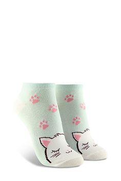 c3068aafae Cat Graphic Ankle Socks | Forever 21 Ankle Socks, F21, Hosiery, Forever 21