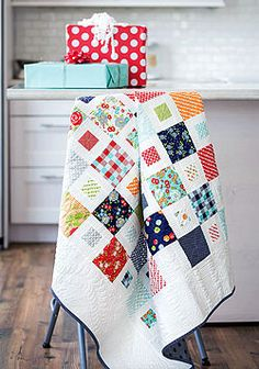 This joyful contemporary quilt is aptly named Happy Happy! Made using pre-cuts, this white quilt is an easy project and comes with digital instructions and a video tutorial from the Fons and Porter staff.