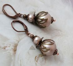 Excited to share the latest addition to my shop: Vintage Pearl Earrings, Blush Earrings, Blush Art Deco Earrings, Pink Earrings, Pearl Drop Earrings, Jewellery Earrings, Copper Earrings, Edwardian Jewelry, Antique Jewelry, Art Nouveau Jewelry, Photo Jewelry