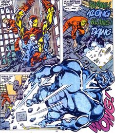 Iron Man knocks Iron Clad for a loop in front of the Original Human Torch,