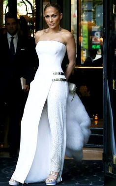 Jennifer Lopez Best Dressed instrapless white Dress and Pants Hybrid Gown front-row at Atelier Versace Fall Winter 2014 Haute Couture.