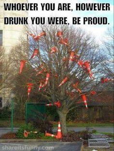 Traffic Cone Tree - https://shareitsfunny.com/traffic-cone-tree/ - Funny Pictures on  Share Its Funny  #trafficconetree