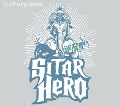 """Sitar Hero"" by AJ Paglia is available now. Get yours here: http://www.teefury.com/sitar-hero/?utm_source=pinterest&utm_medium=referral&utm_content=sitarhero&utm_campaign=teefurygalleryclassics?&c3ch=Social&c3nid=Pinterest"