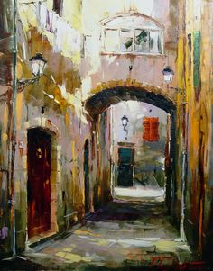 Tuscan street 80x65 oil on canvas 2004
