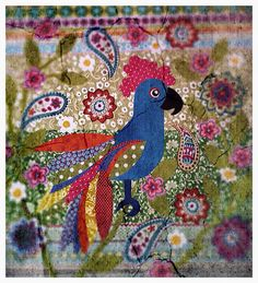 Fabric bird picture By Lucy Levenson Fabric Pictures, Bird Pictures, Fabric Birds, Fabric Art, Chicken Quilt, Freehand Machine Embroidery, Book Of Kells, Illuminated Letters, Mini Quilts